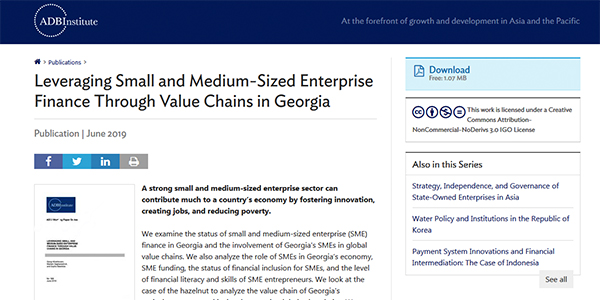 Financing Small and Medium Enterprises Based on Value Chain in Georgia
