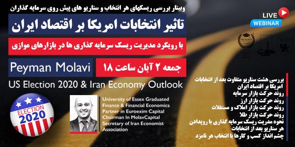 کارگاه آنلاین آموزشی(تاثیر انتخابات امریکا بر اقتصاد ایران (با رویکرد مدیریت ریسک سرمایه گذاری ها در بازارهای موازی))
